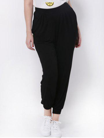 Store Plus Size High Waisted Jogger Pants BLACK 5XL