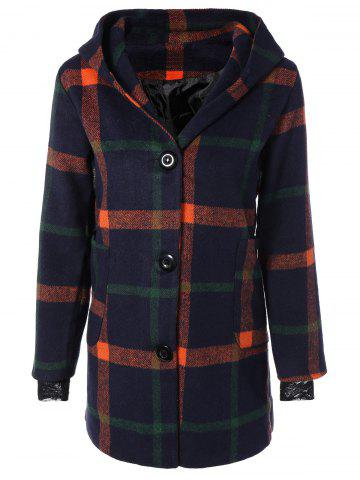 Woolen Checked Coat With Hoodie - Purplish Blue - S