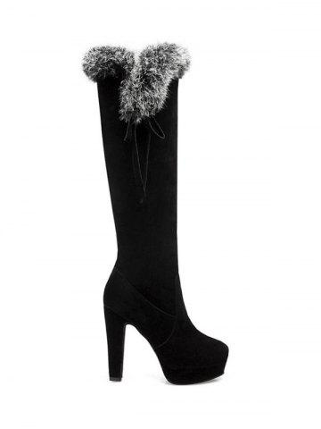 Discount Faux Fur Zipper Platform Knee-High Boots