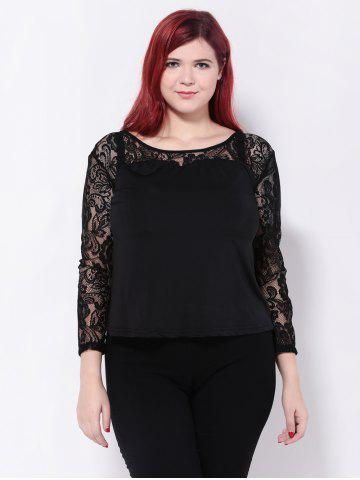 Cheap See-Through Floral Lace Patchwork Blouse