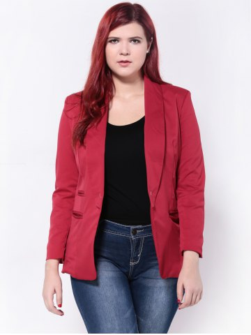 Slimming Twin Pockets Blazer - Red - 2xl