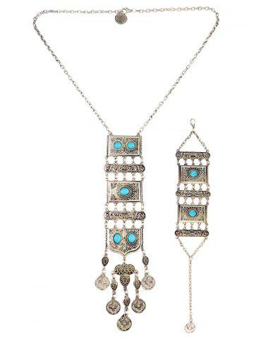 Shop Boho Totem Coin Geometric Necklace Set - TURQUOISE  Mobile