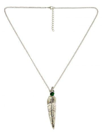 Online Faux Pearl Feather Pendant Necklace SILVER