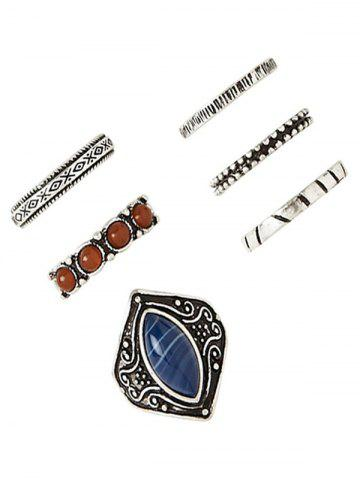 Outfits Retro Faux Gem Carved Ring Set
