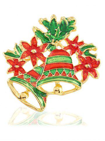 Outfit Hollow Enamel Christmas Bell Floral Brooch EMERALD
