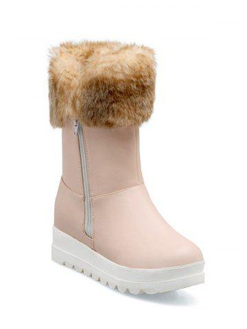 Shop Increased Internal Faux Fur Zipper Snow Boots PINK 38