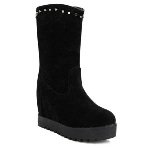 Store Hidden Wedge Rivets Mid Calf Boots