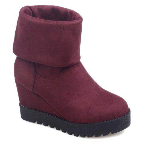 Suede Wedge Heel Platform Mid Calf Boots - Wine Red - 39