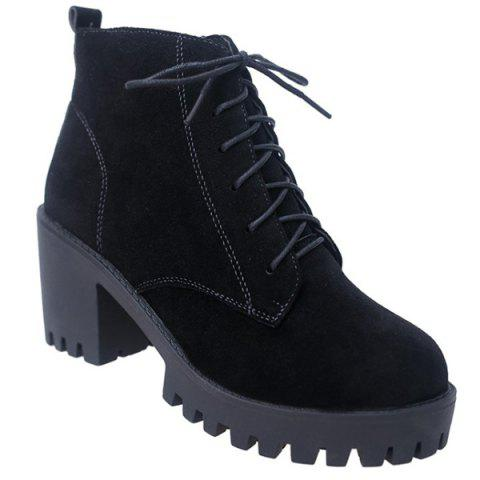 Outfit Lace Up Block Heel Ankle Boots