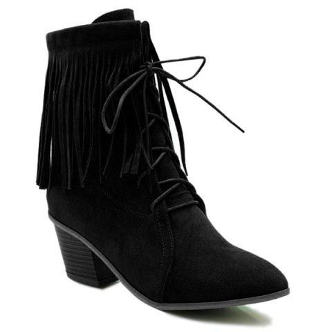 Cheap Pointed Toe Fringe Tie Up Short Boots BLACK 39