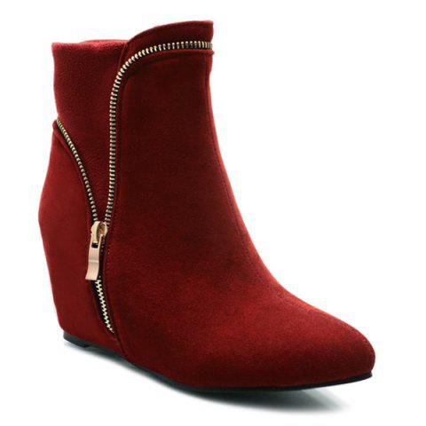 Hot Hidden Wedge Pointed Toe Short Boots DEEP RED 38
