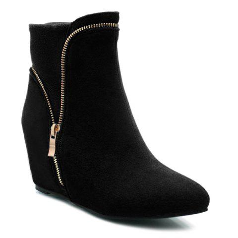 Hidden Wedge Pointed Toe Short Boots - Black - 37