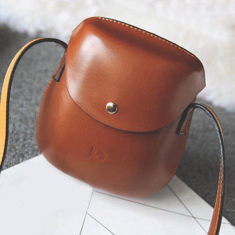 Affordable PU Leather Covered Closure Metallic Crossbody Bag BROWN