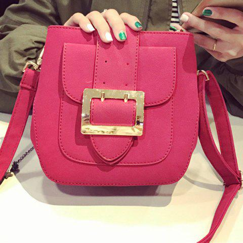 Affordable PU Leather Buckle Magnetic Closure Crossbody Bag ROSE MADDER