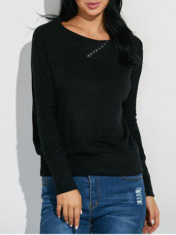 Cheap Ribbed Button Embellished Knitwear BLACK L