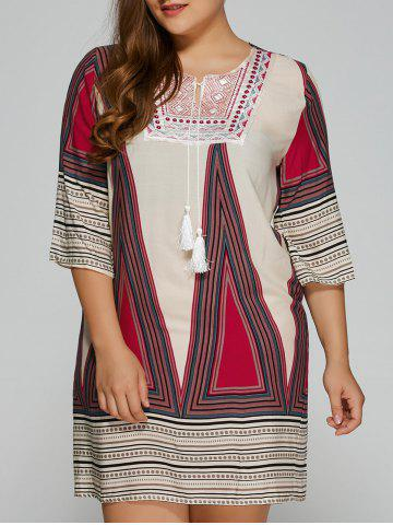 Store Plus Size Embroidered Geometric Print Dress DEEP RED L