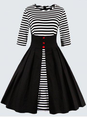 Fancy Plus Size Vintage Striped Button Embellished Dress