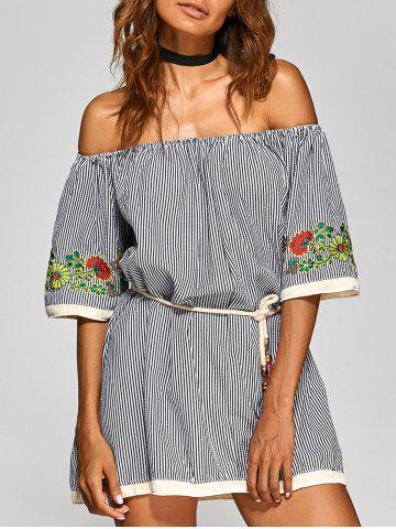 Store Off The Shoulder Pinstriped Floral Embroidered Dress