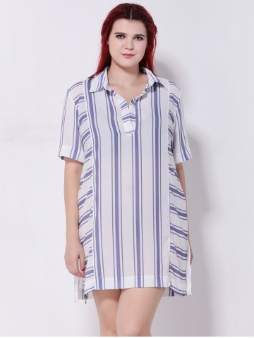 Unique Striped Furcal Chiffon Longline Blouse STRIPE 5XL