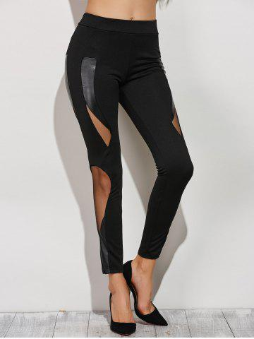 Unique Skinny Mesh Spliced Narrow Feet Pants