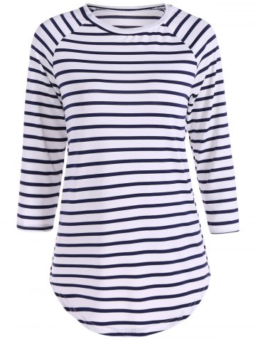 Outfit Striped Raglan Sleeve Slimming T-Shirt