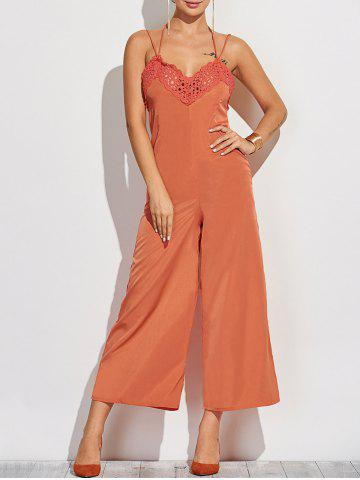 Fashion Crochet Spliced Back Cutout Cami Jumpsuit
