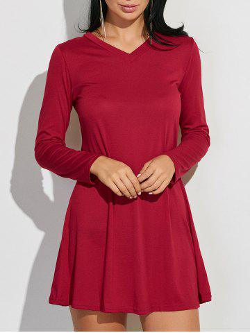 Chic V-Neck Loose-Fitting Plain Dress DEEP RED XL