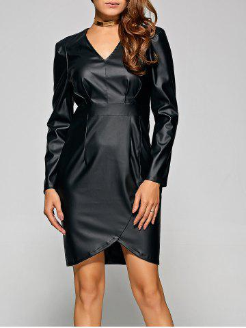 Trendy V Neck Faux Leather Long Sleeve Dress