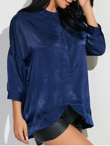 New Stand Neck 3/4 Sleeve Satin Shirt CADETBLUE M