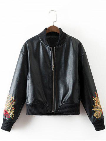 Shop PU Souvenir Jacket with Flower Embroidery