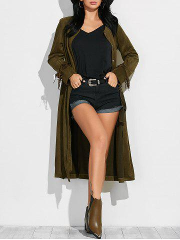 Outfits Fringe Maxi Suede Coat ARMY GREEN M