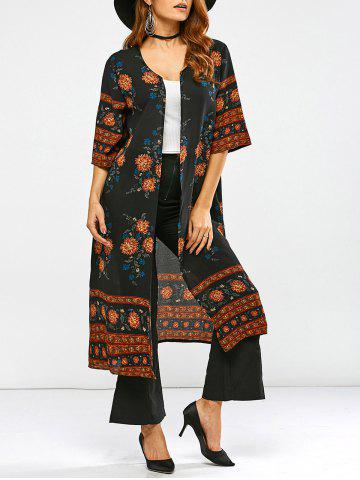 Latest Round Neck Retro Print Duster Coat