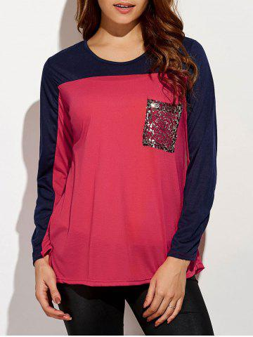 Trendy Sequin Long Sleeve Color Block T-Shirt RED M