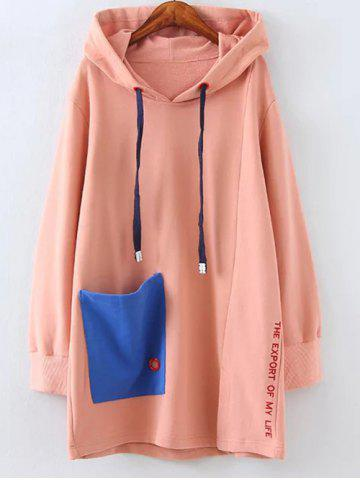 Plus Size Fleece Pocket Patched Long Hoodie - PINK XL