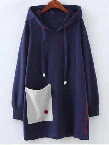Sale Plus Size Fleece Pocket Patched Long Hoodie