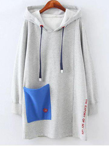 Affordable Plus Size Fleece Pocket Patched Long Hoodie