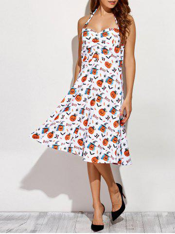 Halter Halloween Printed Dress - WHITE L