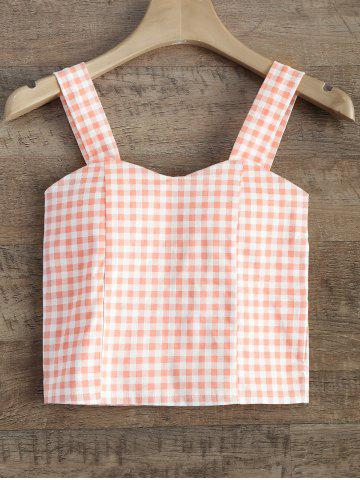 Affordable Straps Checked Padded Cropped Tank Top