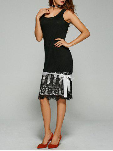 Buy Lace Trim Bowknot Embellished Tank Dress - Black XL