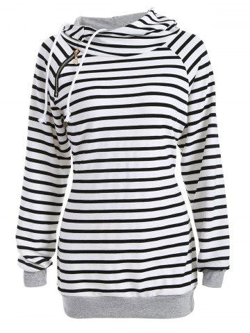 Outfits Inclined Zipper Striped Hoodie WHITE AND BLACK XL