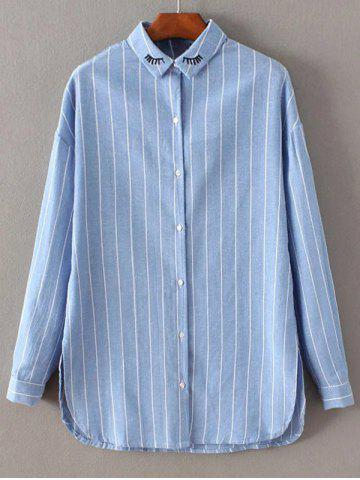 Online Long Sleeve Embroidered Striped Shirt AZURE XS