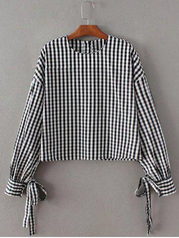 Discount Checked Back Button Crop Blouse