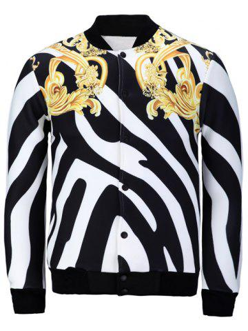 Fashion Stand Collar Zebra Stripe Floral Print Jacket WHITE/BLACK XL