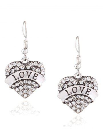 Discount Rhinestone Engraved Love Heart Drop Earrings