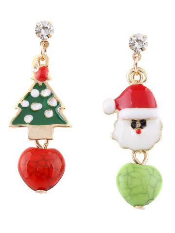 Hot Rhinestone Santa Christmas Tree Asymmetric Earrings COLORMIX