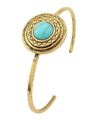Store Faux Turquoise Circle Floral Cuff Bracelet GREEN