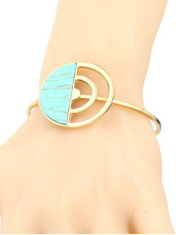 Outfits Artificial Turquoise Half Circle Cuff Bracelet GREEN