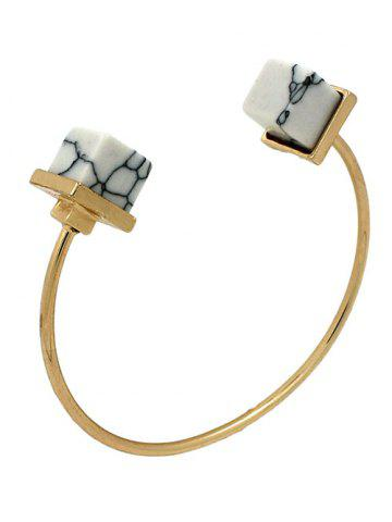 Fancy Artificial Turquoise Square Cuff Bracelet WHITE