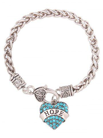 Best Rhinestone Engraved Hope Heart Charm Bracelet