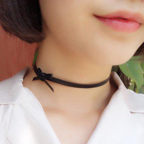 Cheap Faux Leather Bowknot Choker Necklace